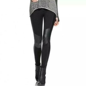 CAbi Moto Faux Leather Details Leggings Size Small